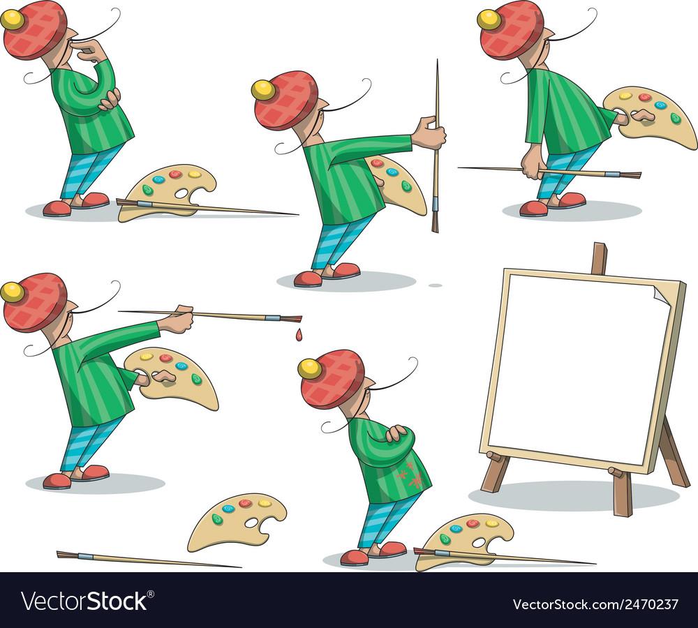 Artist painter set vector