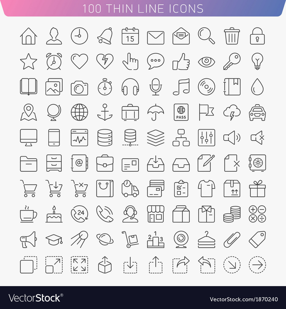 100 thin line icons vector