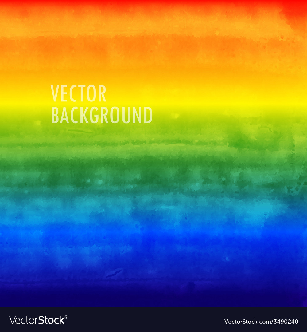 Rainbow watercolor background brushed ink texture vector