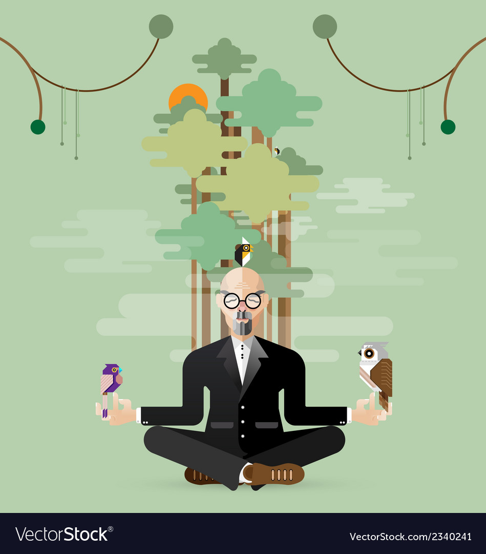 Old business man making yoga in nature vector