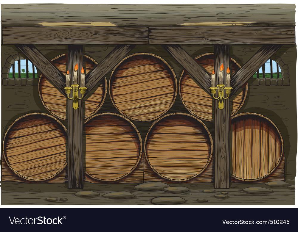 Old wine barrels vector