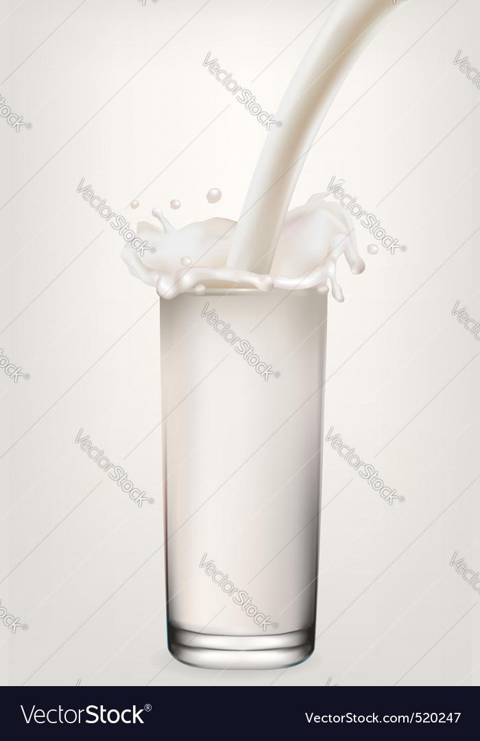 Glass of milk white background vector