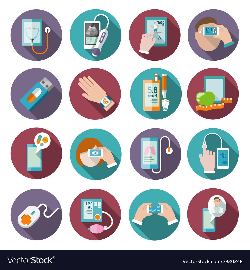 Digital health icons set vector