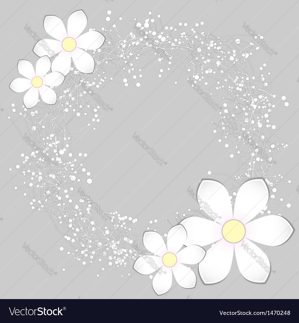 White paper flower card design vector