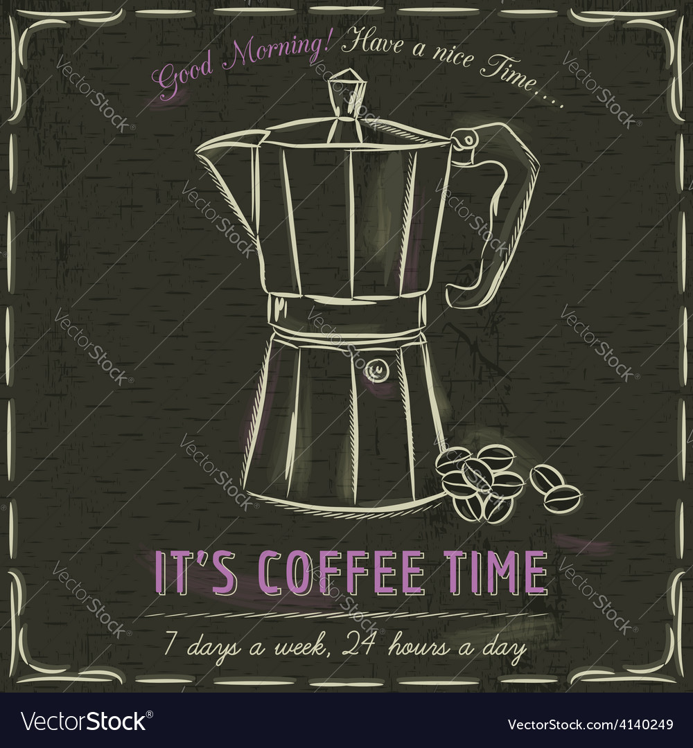 Brown blackboard with a coffee machine and text vector
