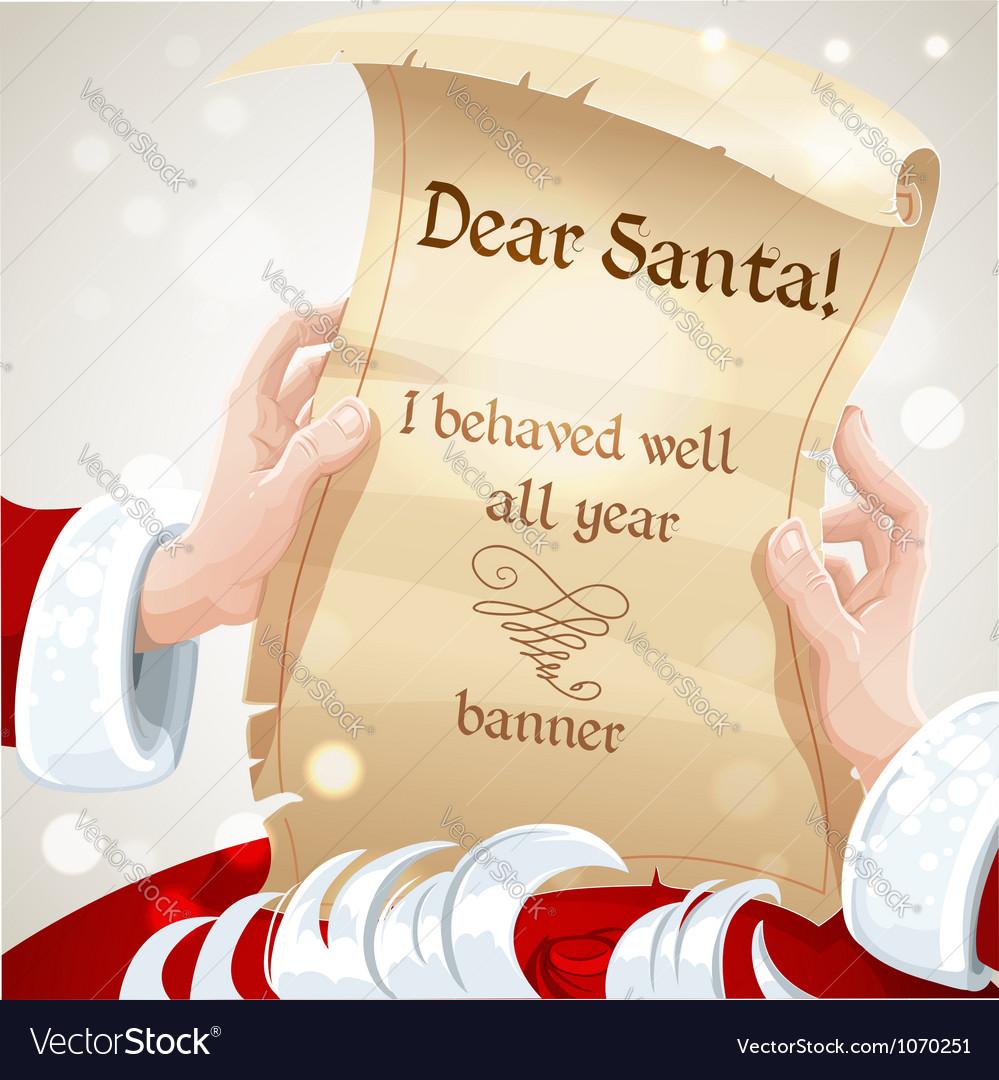 Dear santa i behaved well banner vector