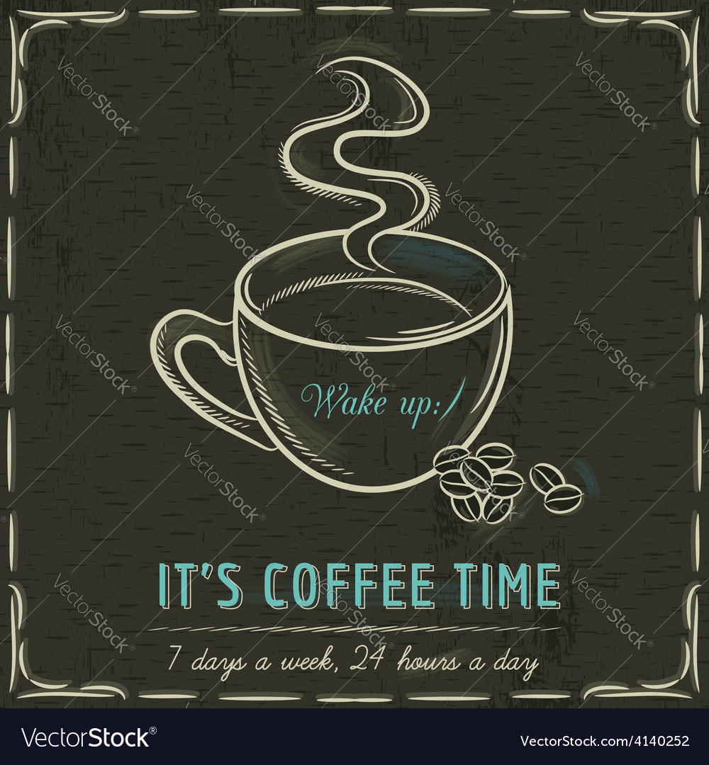 Brown blackboard with a cup of hot coffee and text vector