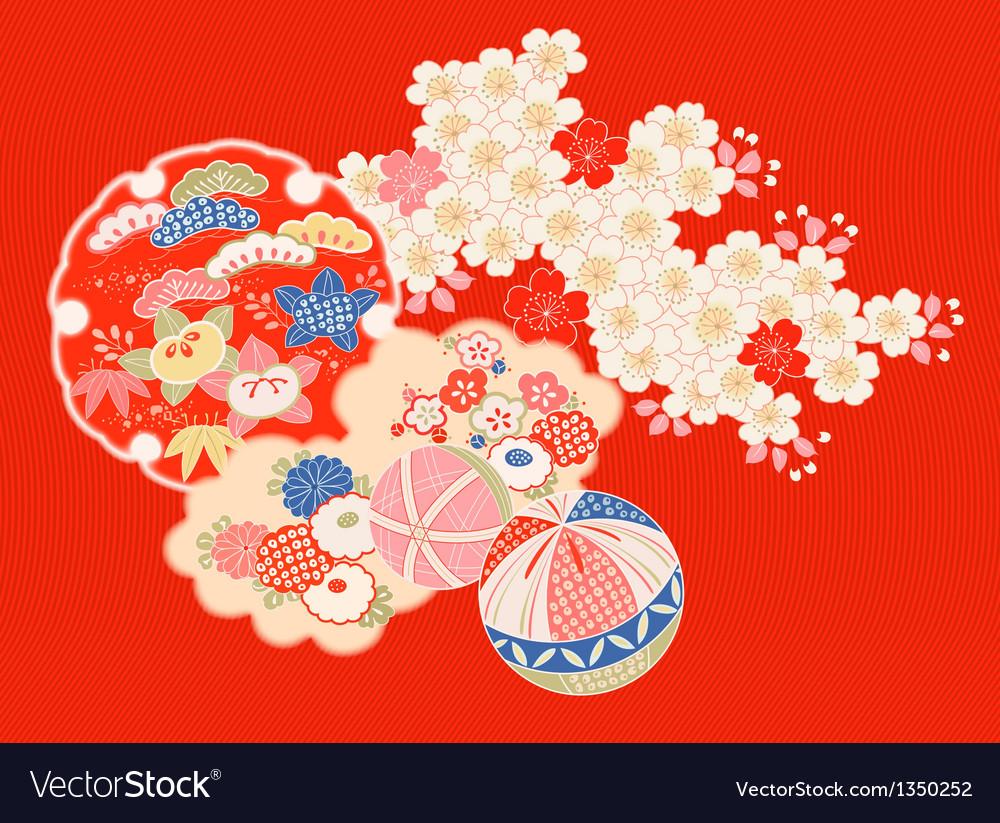 Vintage japanese kimono vector