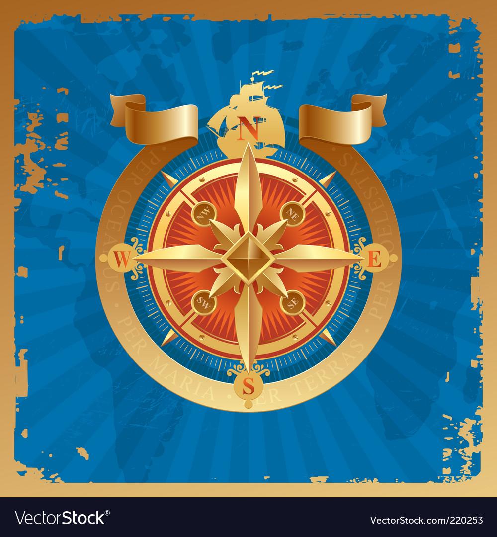 Golden compass rose vector