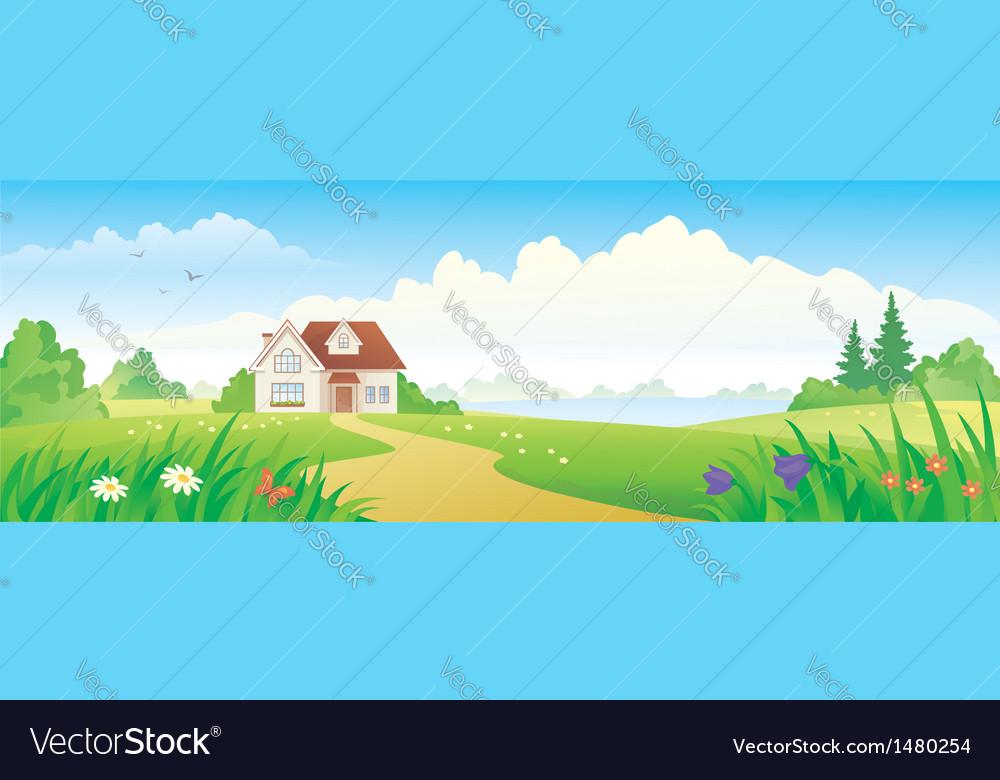 Summer house banner vector