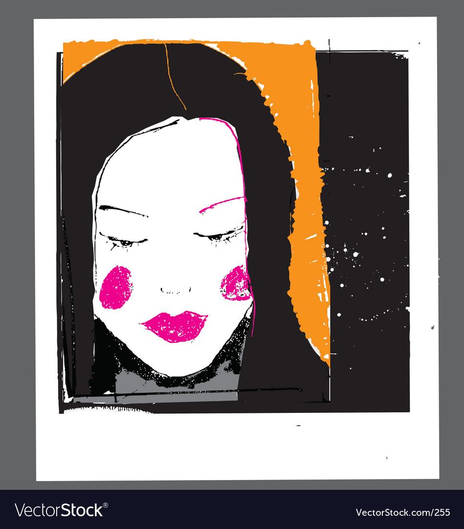 Girl face sketch vector
