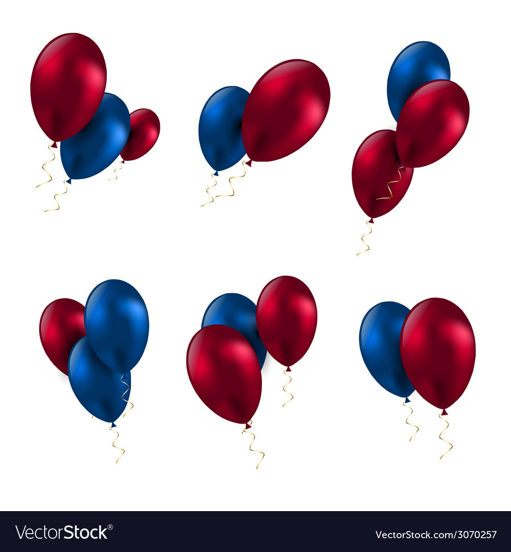Balloon birthday decoration celebrate party set vector