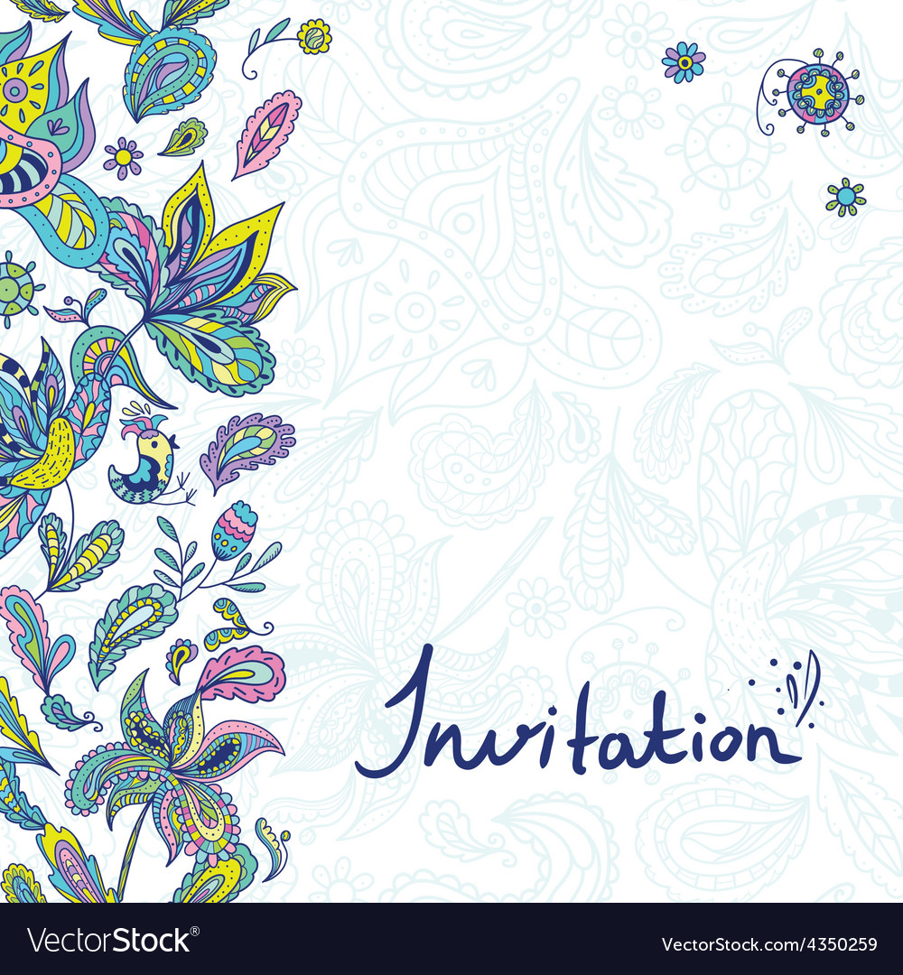 Invitation template with paisley ornaments vector
