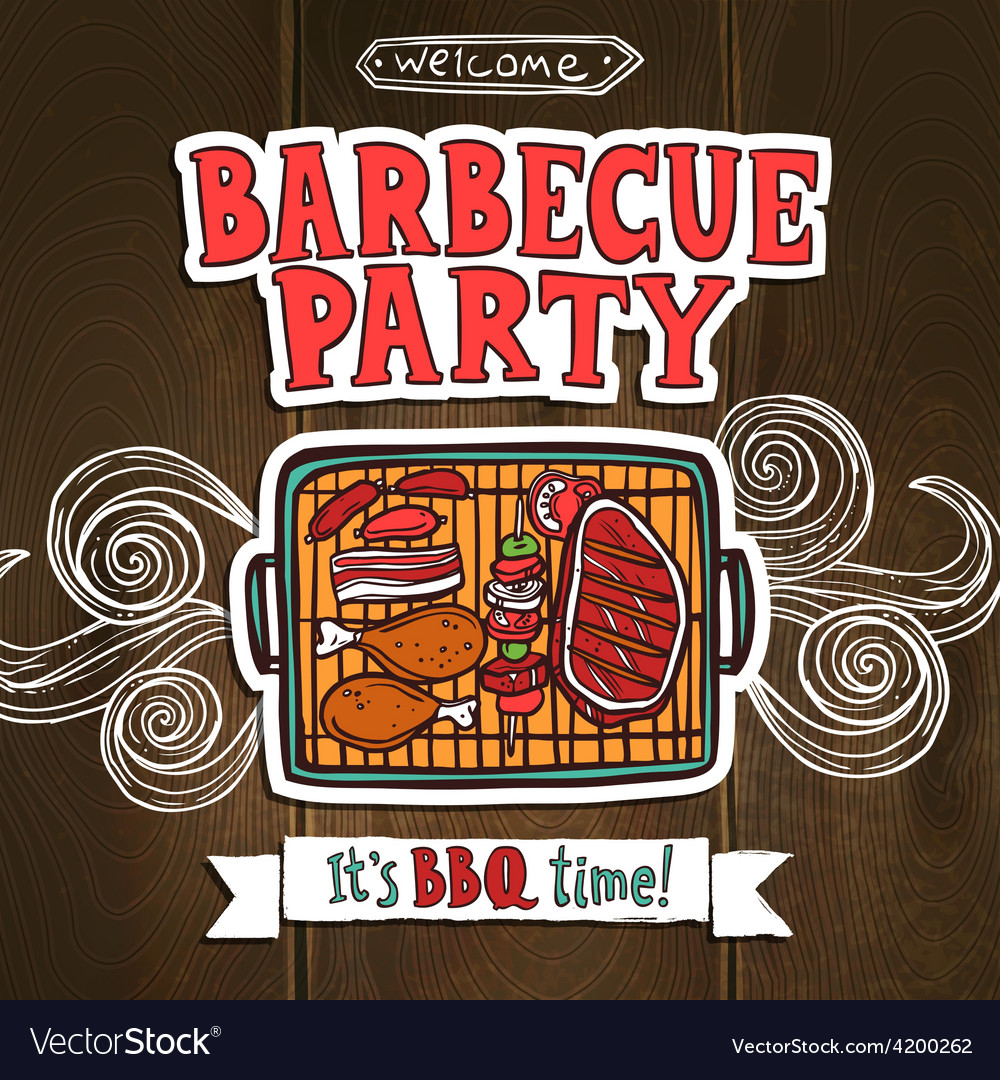 Bbq grill party poster vector