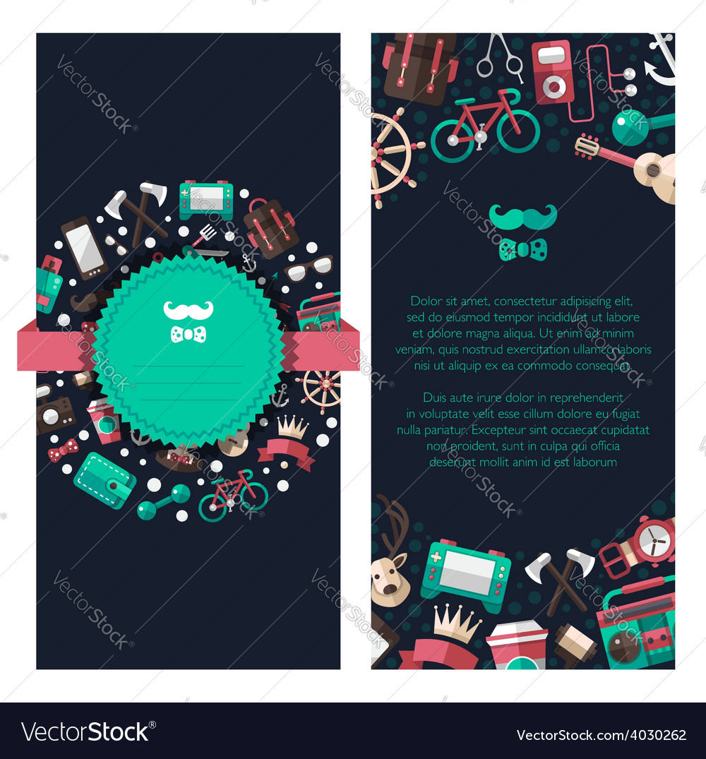 Postcard of modern flat design hipster icons vector