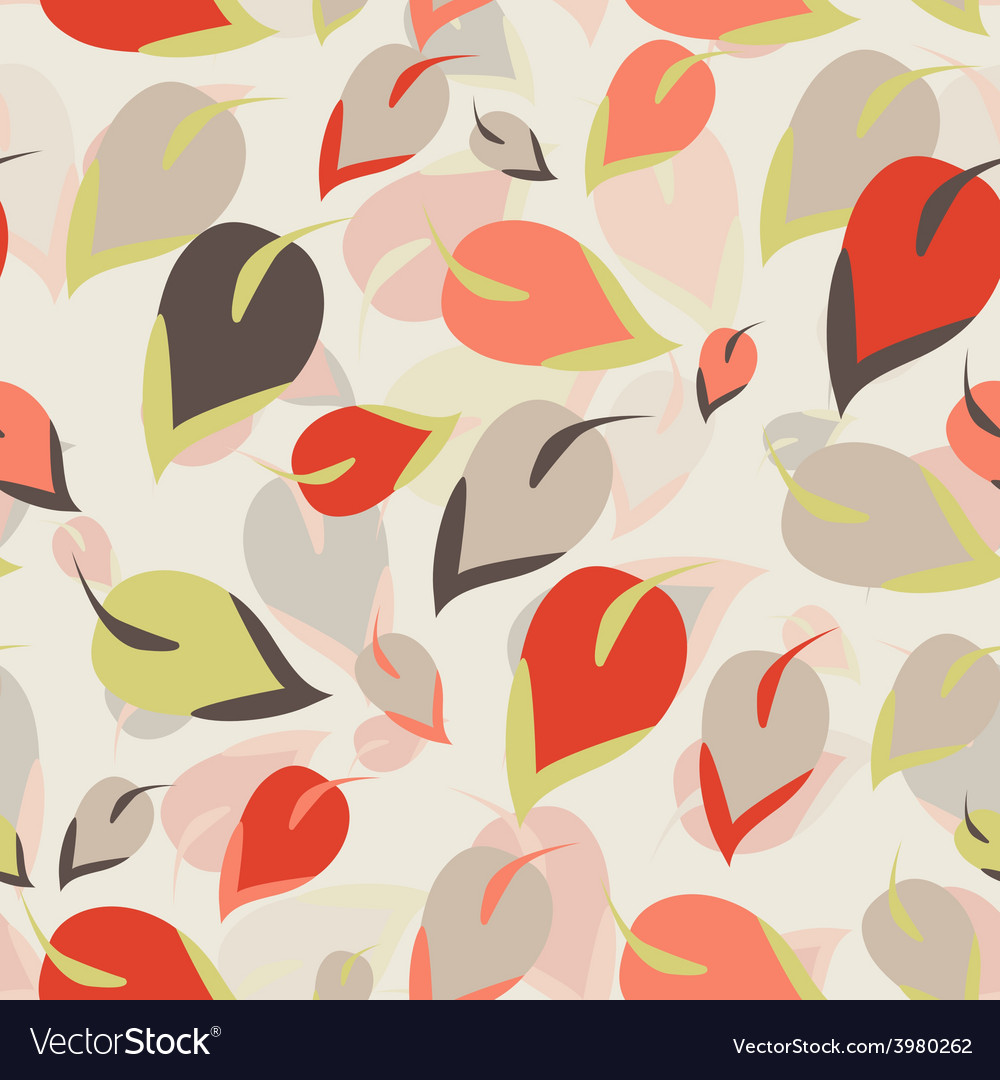 Seamless pattern orange brown green leaves on a vector