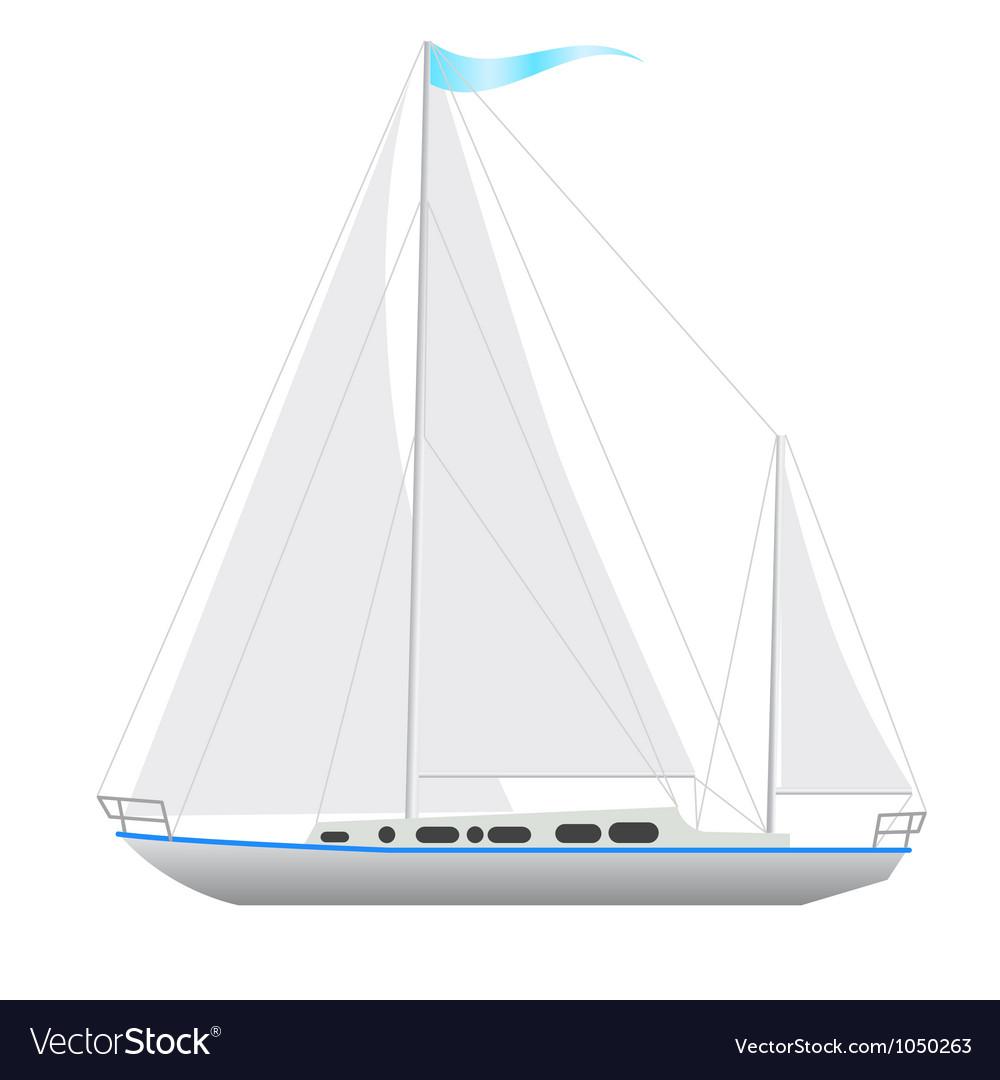Sailing boat floating vector