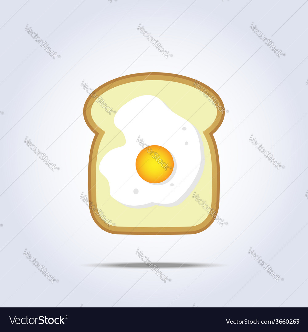 White bread toast icon with egg vector