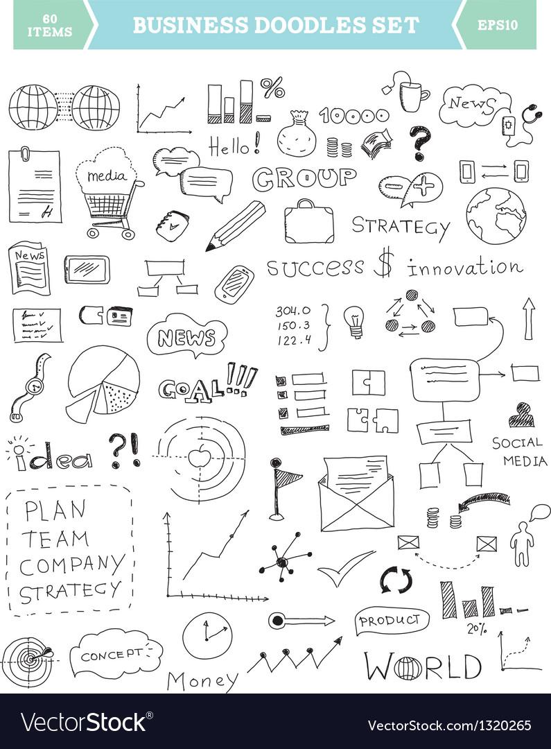 Business doodle elements set vector