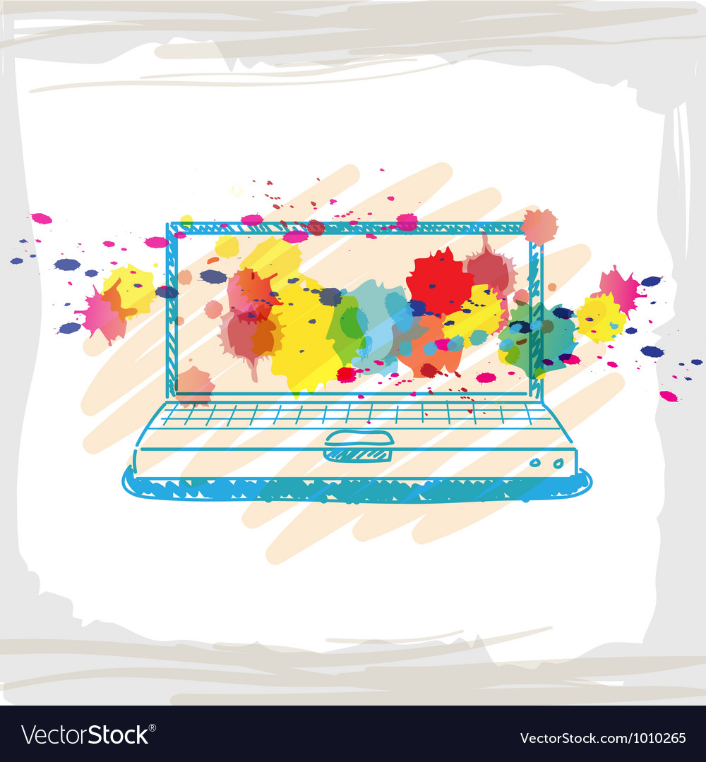 Handwriting sketch computer and ink splash vector