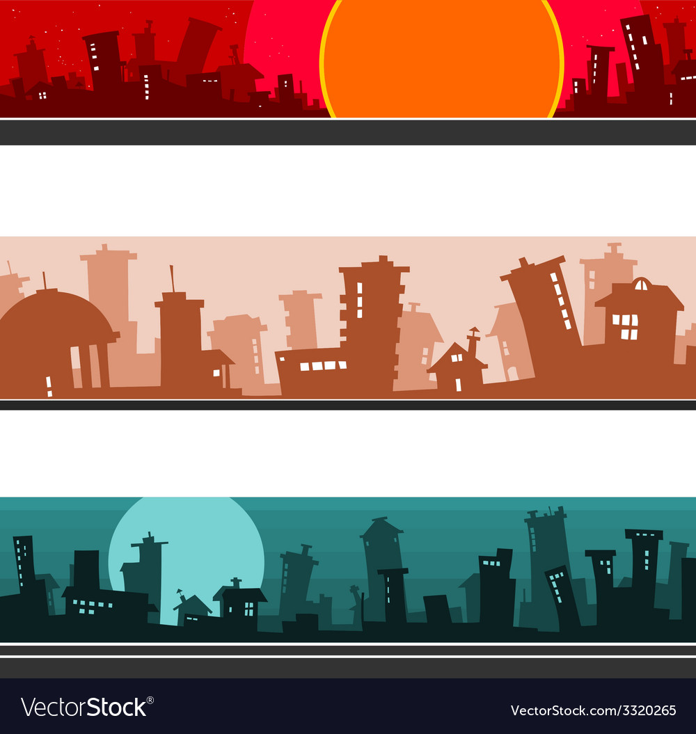 Panorama of the cartoon city set vector