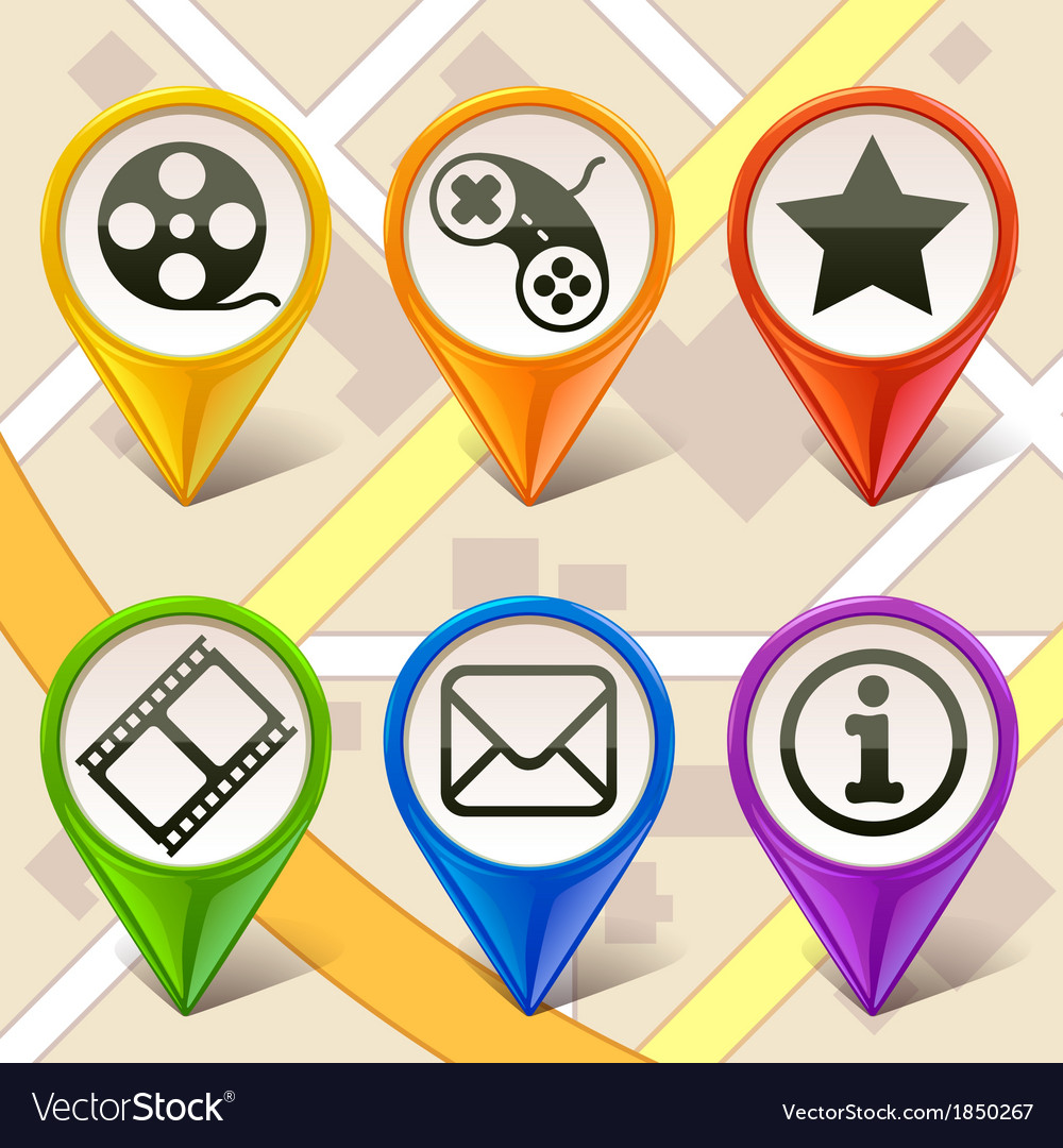 Colorful map markers-set 1 vector