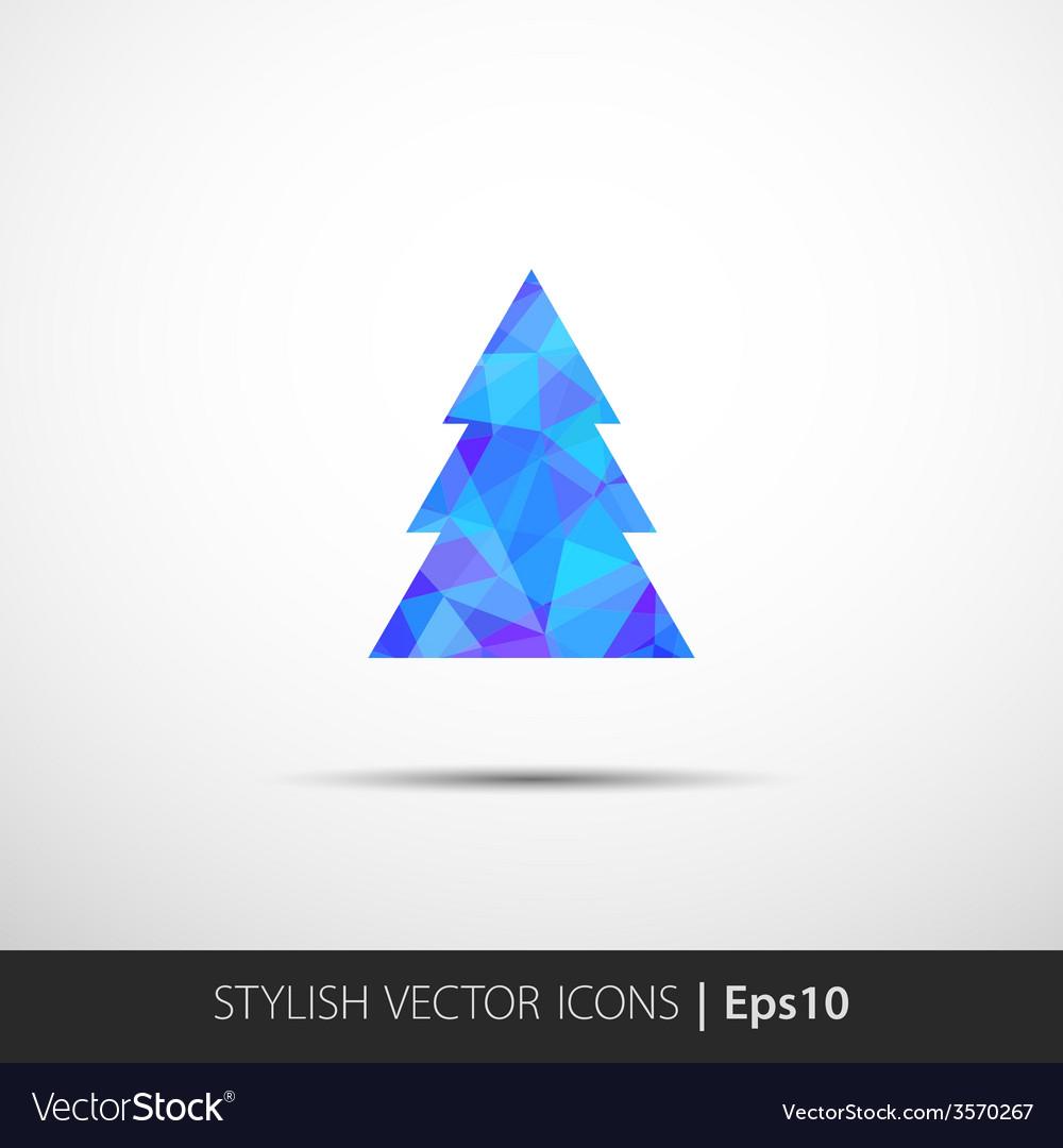 Polygon christmas tree icon vector