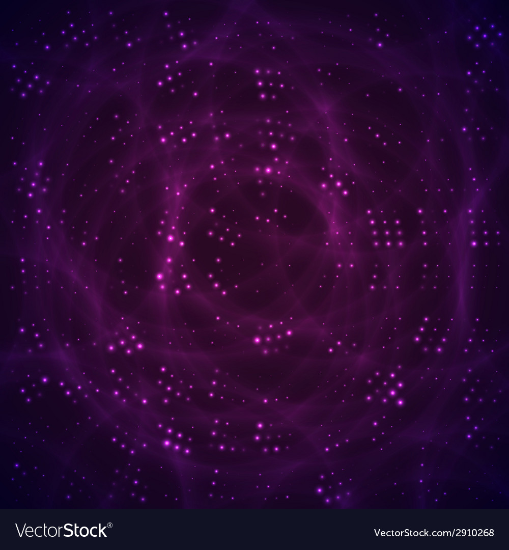 Abstract space with purple and violet stars vector