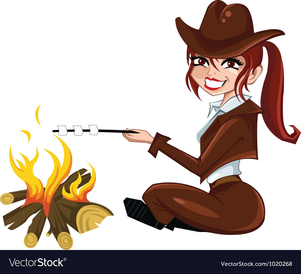 Girl-scout-near-the-fire vector