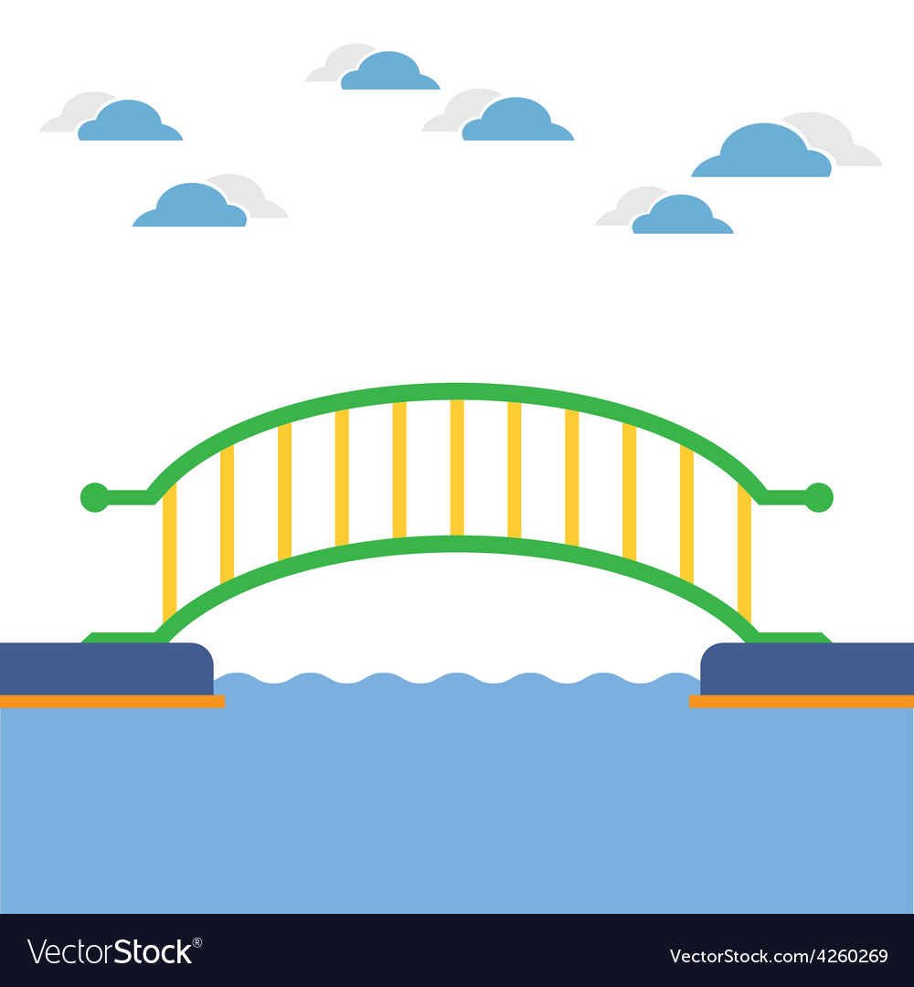 Colorful bridge over the river vector