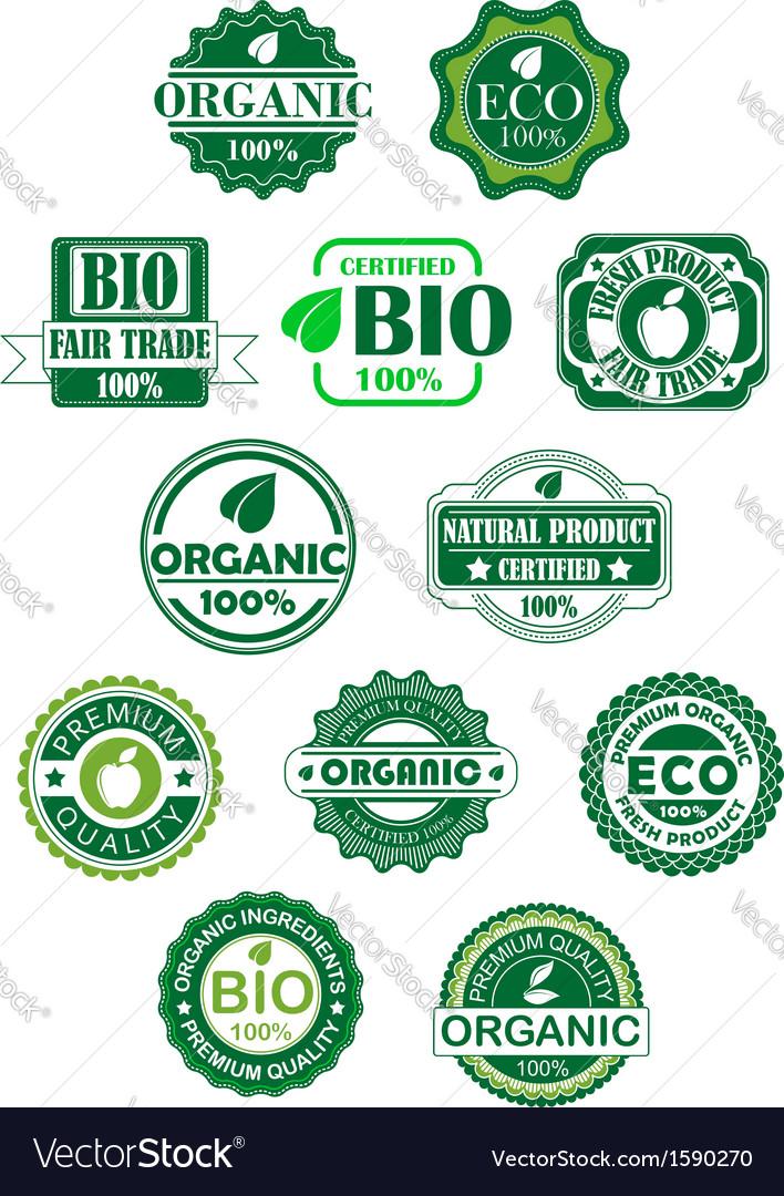 Natural and bio labels vector