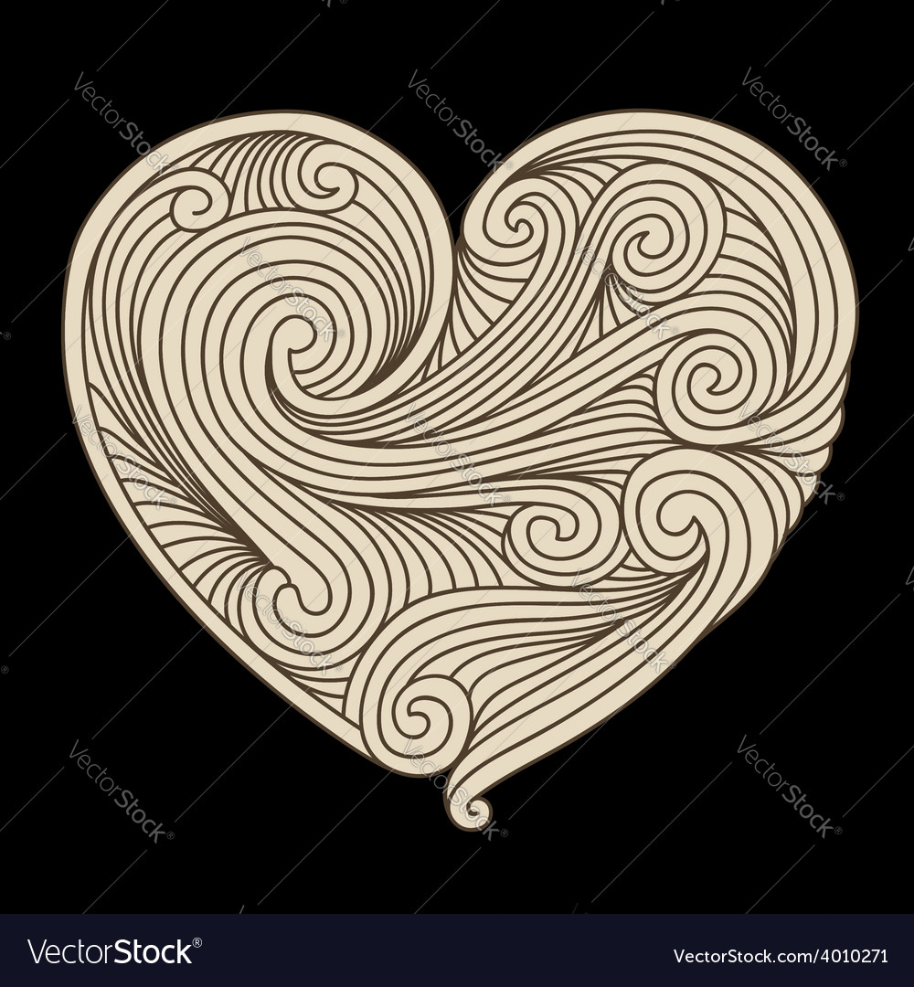 Decorative retro heart vector