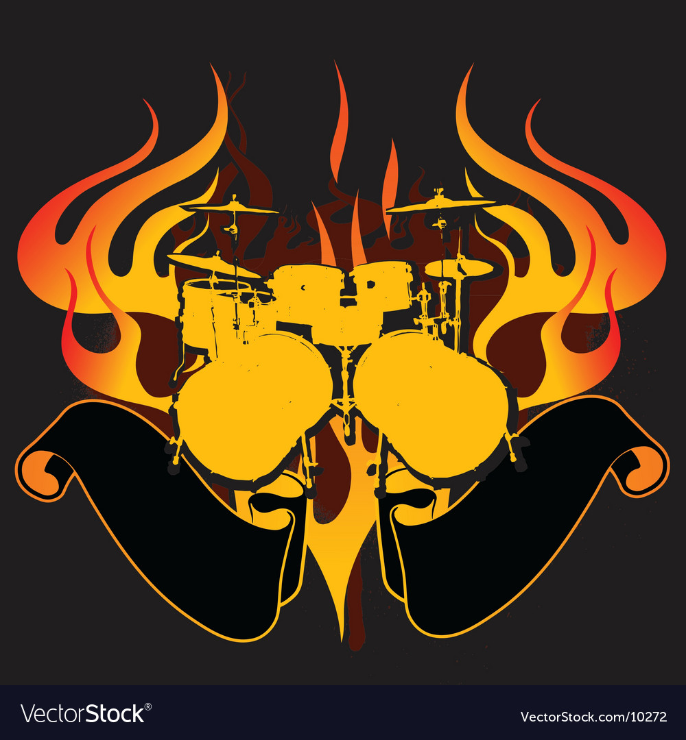 Fire drums graffiti banner vector