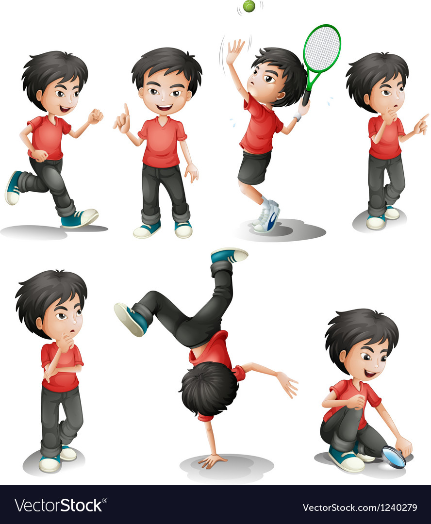 Different activities of a young boy vector