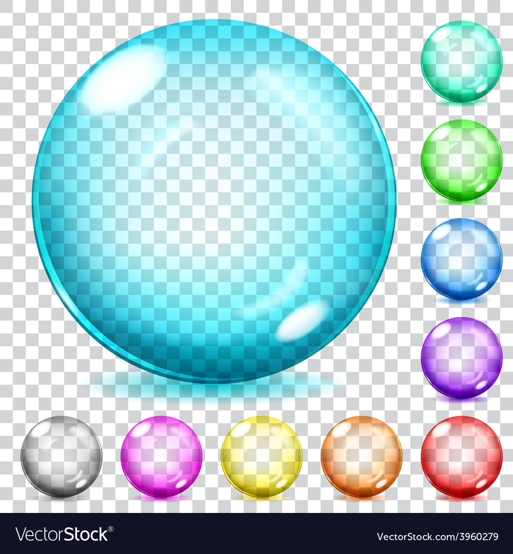 Multicolored transparent glass spheres vector