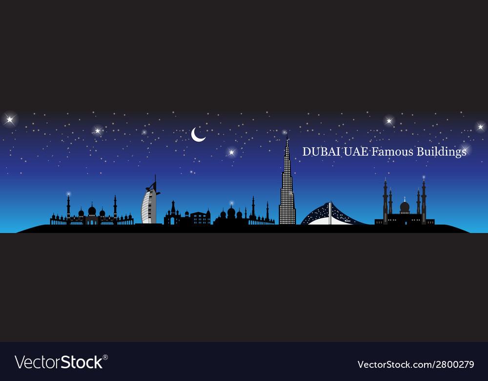 Silhouette famous buildings vector