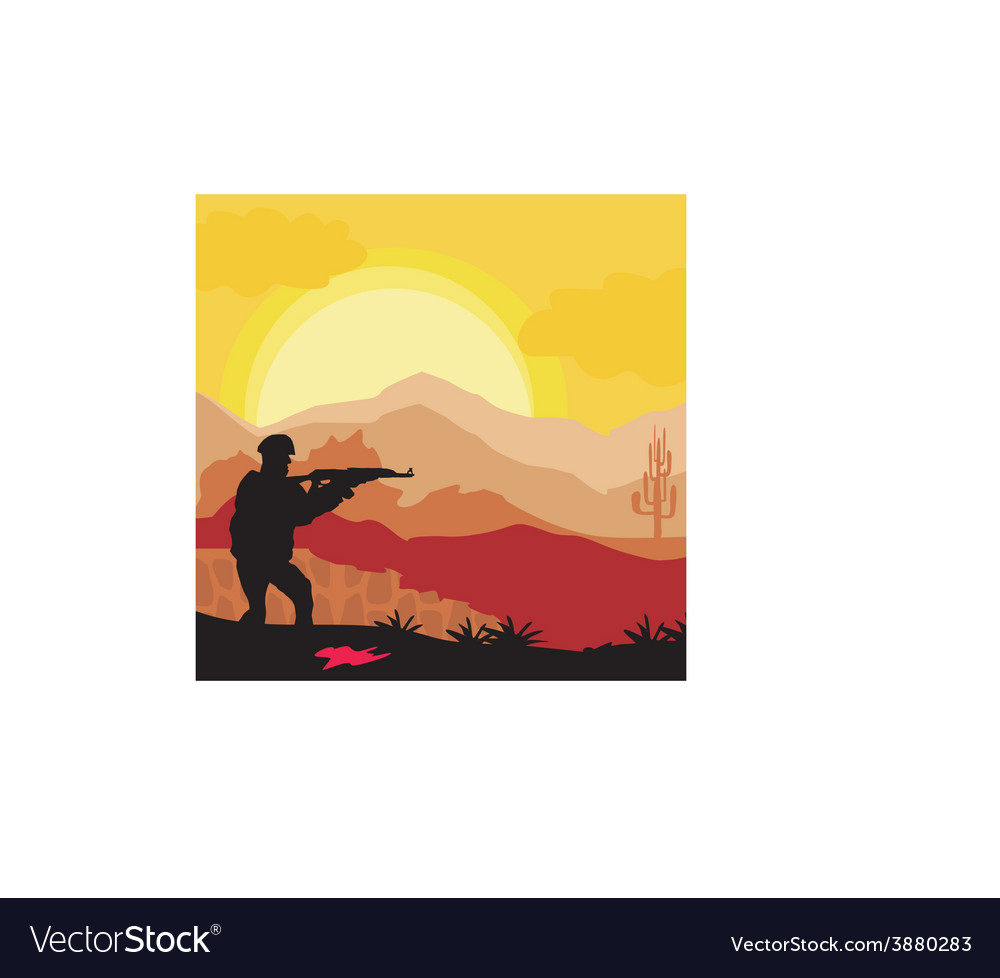 Silhouette of soldier holding gun vector