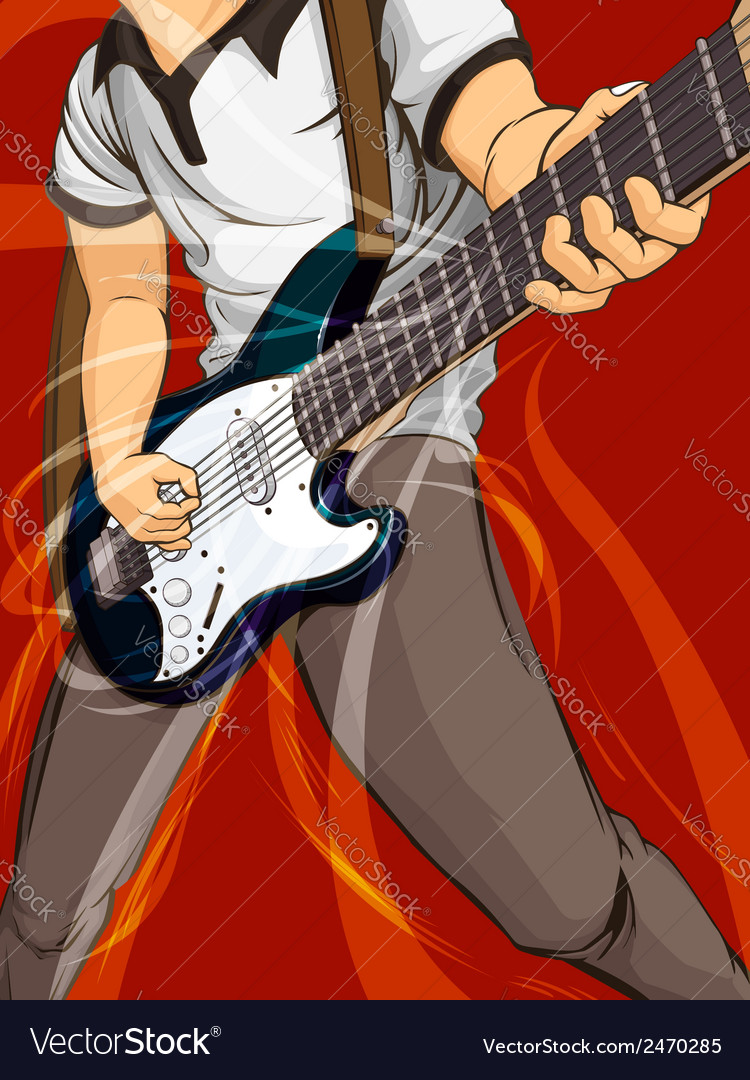 Playing guitar vector