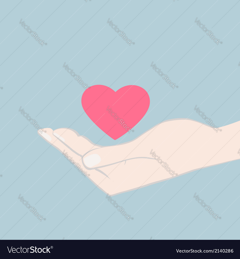 Hand cupping a red heart vector