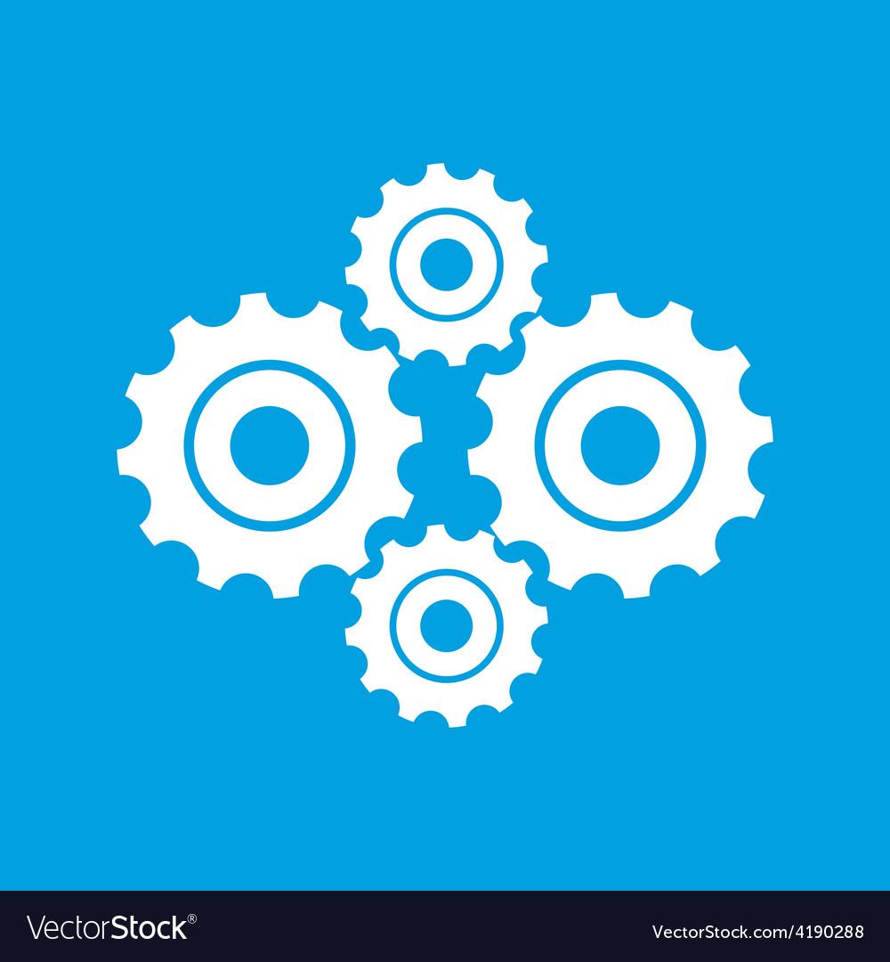 Mechanism white icon vector