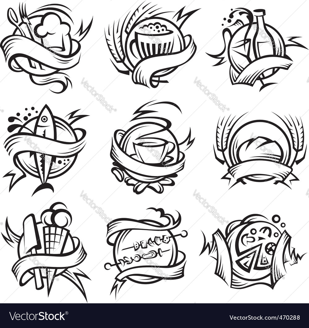 Set of different food banners vector
