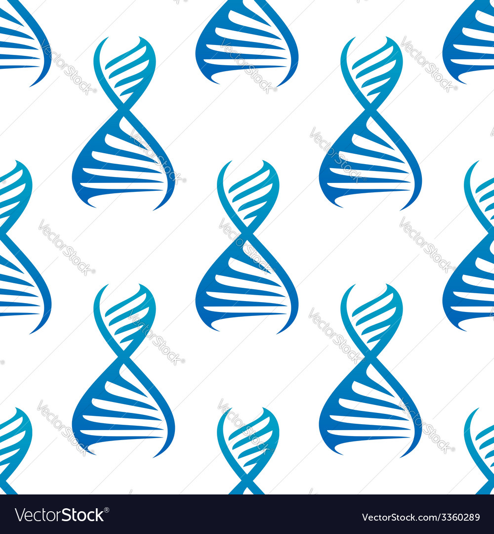 Blue dna seamless pattern vector
