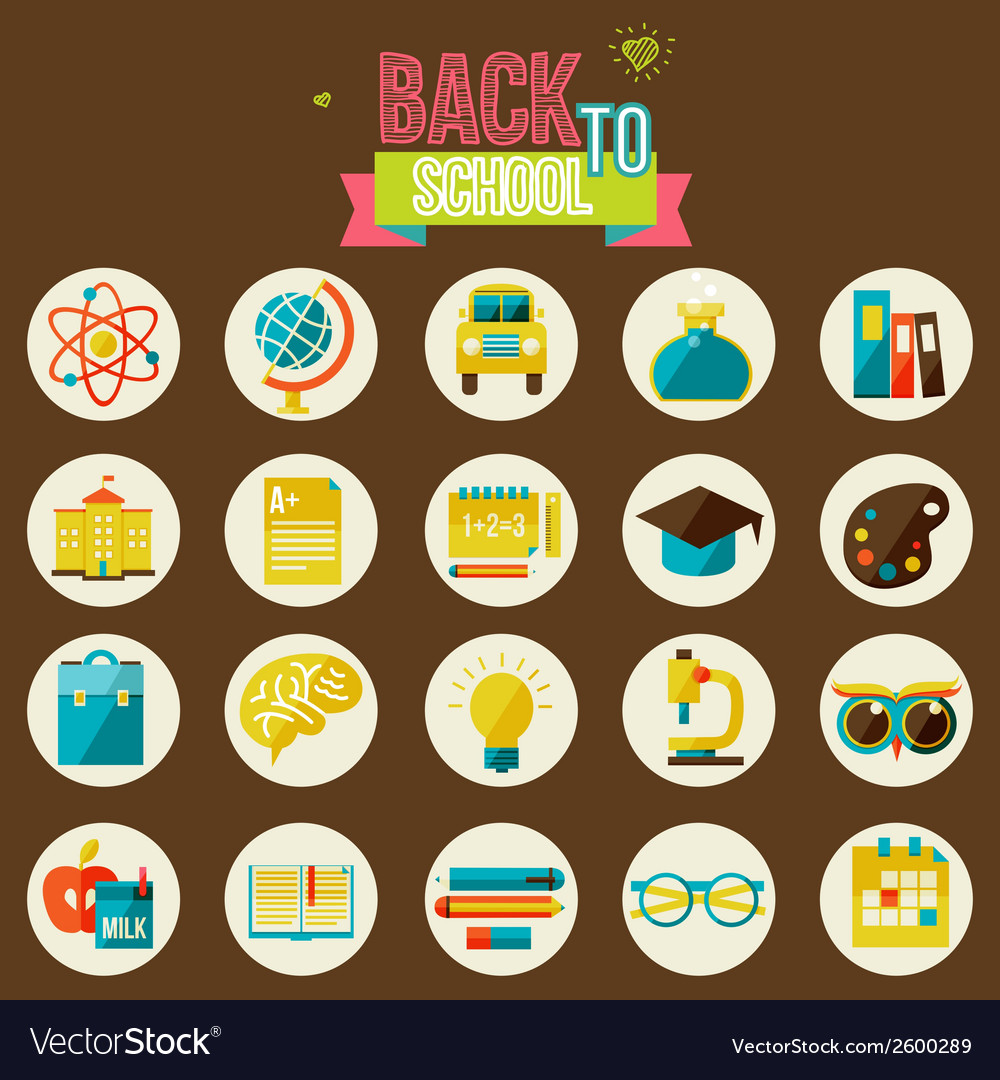 Set of flat school icons vector