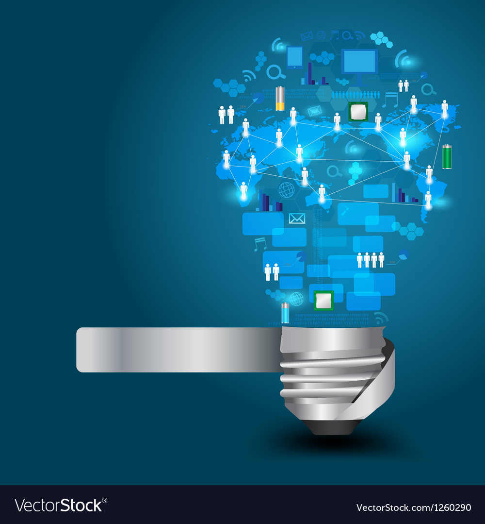 Light bulb with technology business network vector