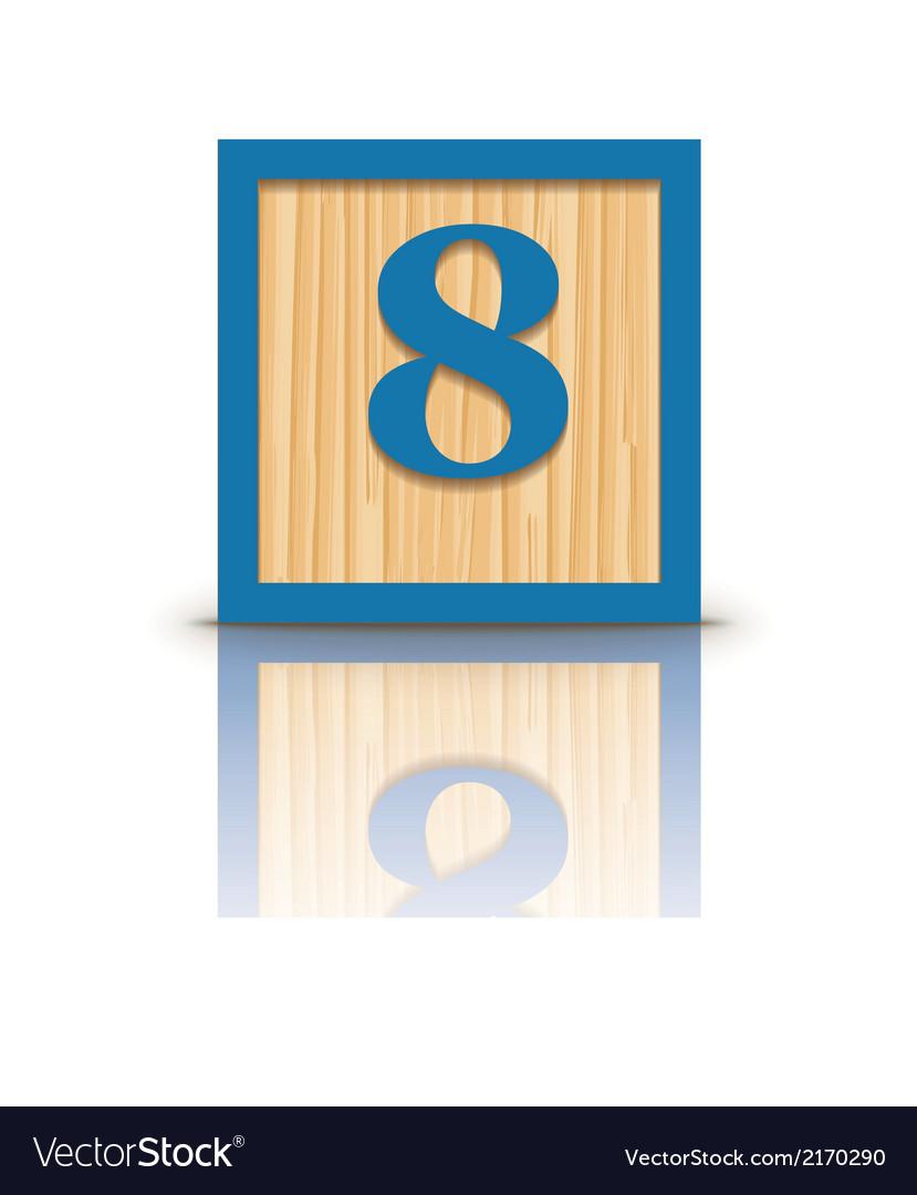Number 8 wooden alphabet block vector