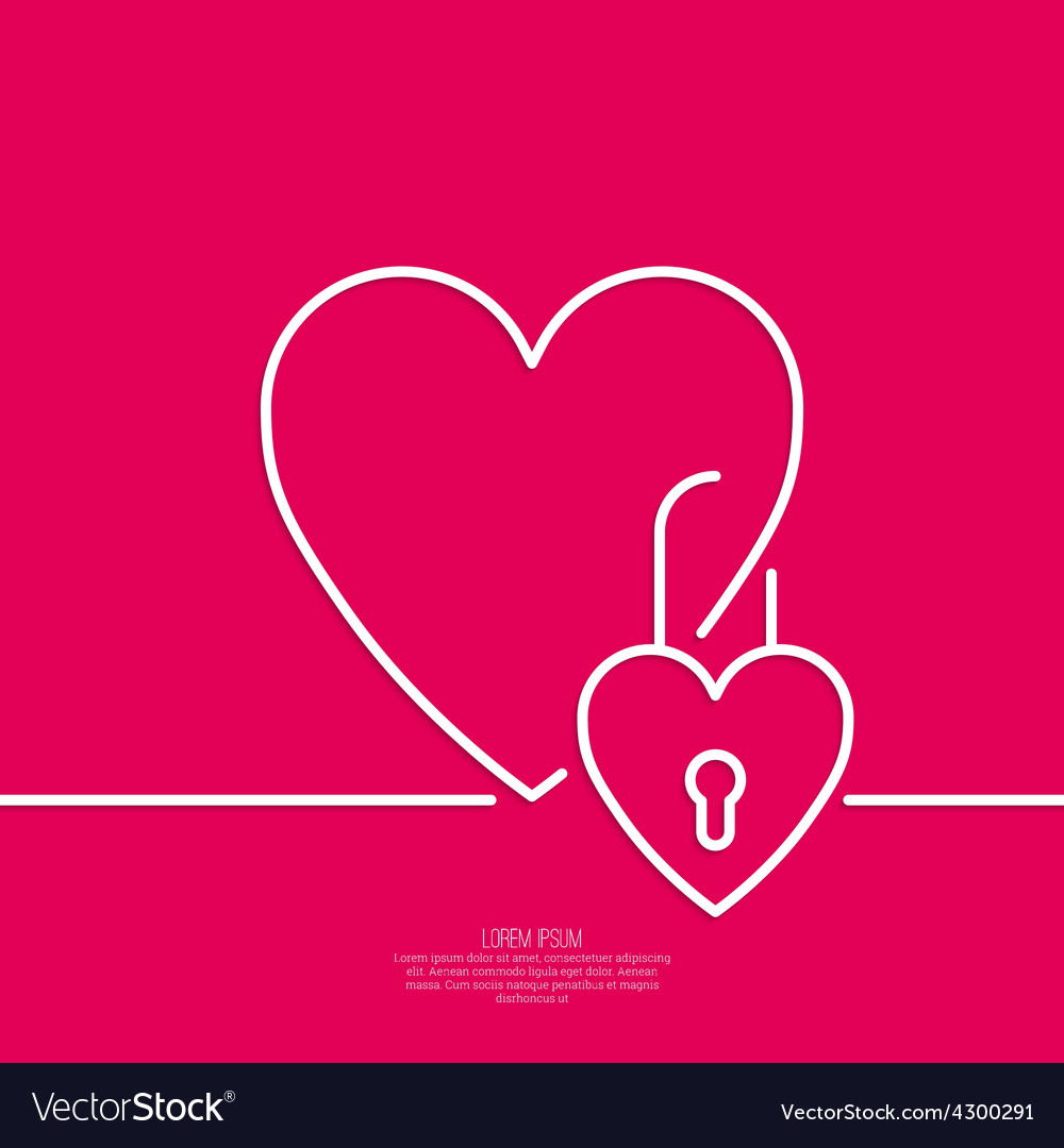Heart with a lock vector