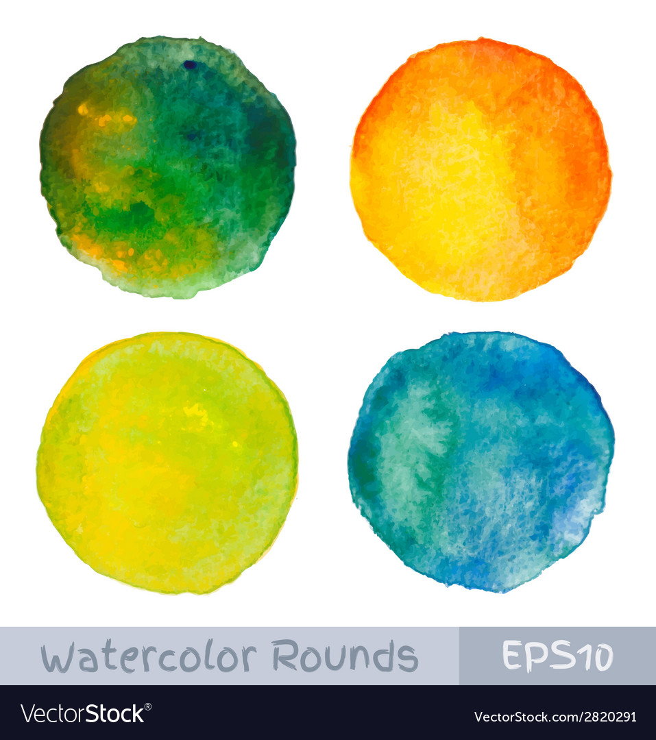 Set of colorful watercolor circular backgrounds vector