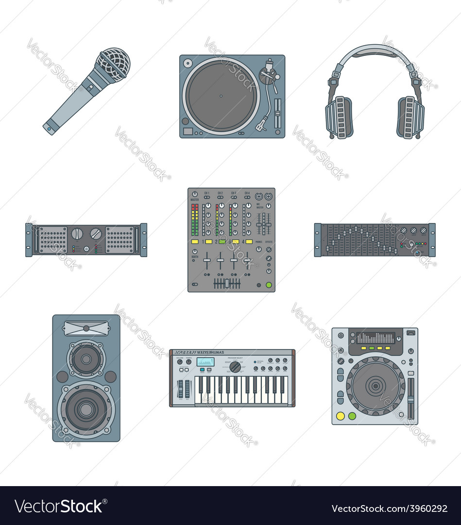 Various color outline sound devices icons set vector