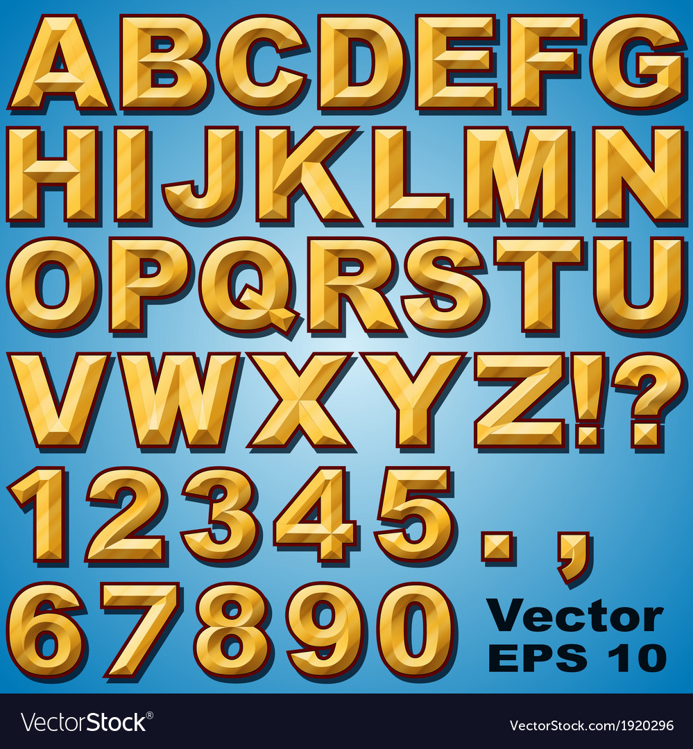 Chiseled block letters vector
