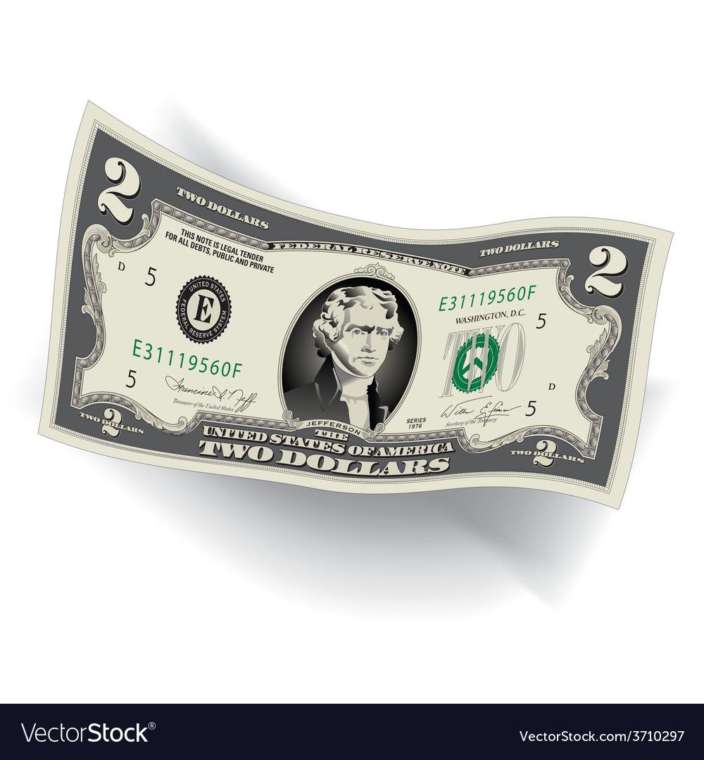 2 dollar bill 3d vector